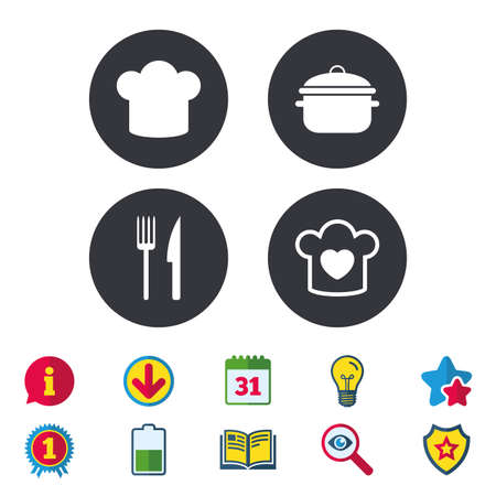 Chief hat and cooking pan icons. Fork and knife signs. Boil or stew food symbols. Calendar, Information and Download signs. Stars, Award and Book icons. Light bulb, Shield and Search. Vector Illustration
