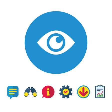 Eye sign icon. Publish content button. Visibility. Information, Report and Speech bubble signs. Binoculars, Service and Download icons. Vector