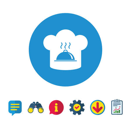 Chef hat sign icon. Cooking symbol. Cooks hat with hot dish. Information, Report and Speech bubble signs. Binoculars, Service and Download icons. Vector Illustration
