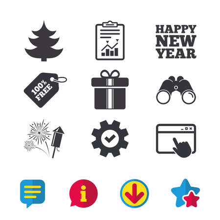 Happy new year icon. Christmas tree and gift box signs. Fireworks rocket symbol. Browser window, Report and Service signs. Binoculars, Information and Download icons. Stars and Chat. Vector