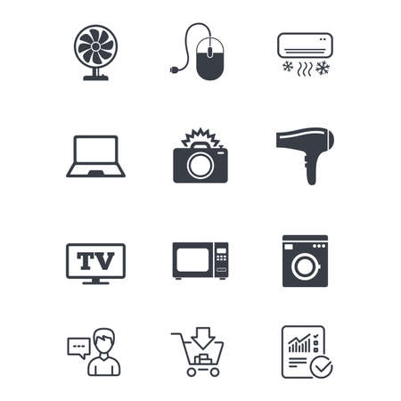 Home appliances, device icons. Electronics signs. Air conditioning, washing machine and ventilator symbols. Customer service, Shopping cart and Report line signs. Online shopping and Statistics