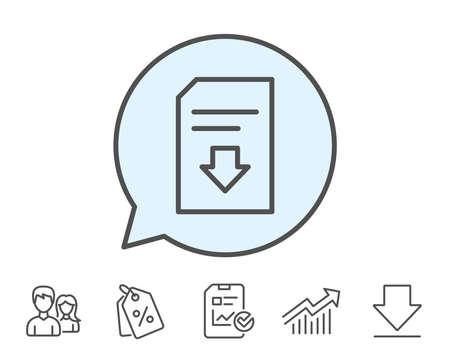 Symbol für Dokumentlinie herunterladen. Informationsdatei Zeichen. Papierseiten-Konzeptsymbol. Bericht, Verkaufs-Coupons und Chart-Linienzeichen. Herunterladen, Gruppensymbole. Bearbeitbarer Strich Vektor Standard-Bild - 82829898