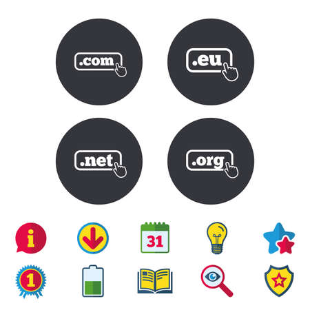 Top-level internet domain icons. Com, Eu, Net and Org symbols with hand pointer. Unique DNS names. Calendar, Information and Download signs. Stars, Award and Book icons. Light bulb, Shield and Search Иллюстрация