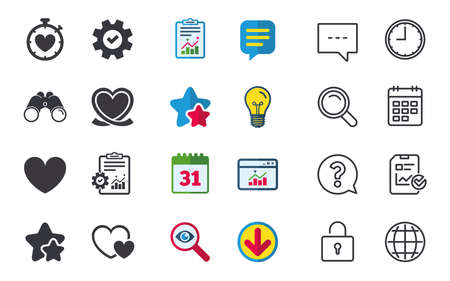 Heart ribbon icon. Timer stopwatch symbol. Love and Heartbeat palpitation signs. Chat, Report and Calendar signs. Stars, Statistics and Download icons. Question, Clock and Globe. Vector Illustration
