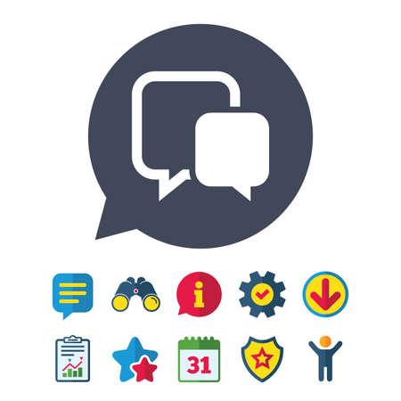 Chat-tekenpictogram. Toespraak bubble symbool. Communicatie praatjebel. Informatie-, rapport- en tekstballonborden. Verrekijker, service en download, sterren pictogrammen. Vector Stock Illustratie
