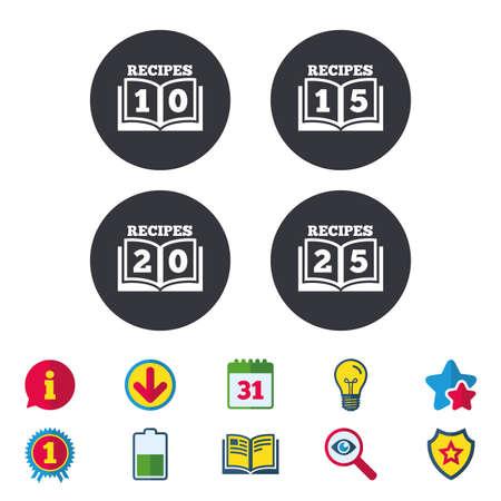 Kookboekpictogrammen. 10, 15, 20 en 25 recepten boekenbordsymbolen. Kalender, informatie en downloadborden. Pictogrammen voor sterren, awards en boeken. Gloeilamp, schild en zoeken. Vector