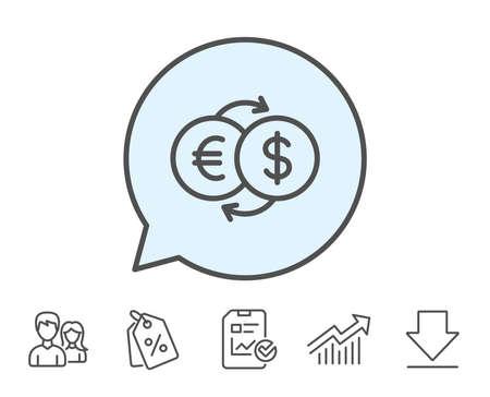 お金交換線アイコン。銀行の通貨記号。ユーロとドルの現金転送のシンボル。レポート、販売クーポン、グラフ線の標識。ダウンロード、アイコン