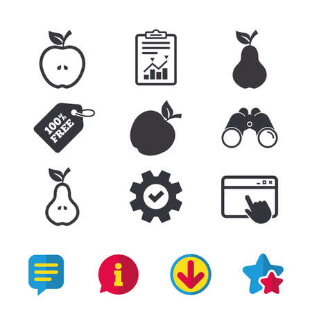 Fruits with leaf icons. Apple and Pear with seeds signs. Natural food symbol. Browser window, Report and Service signs. Binoculars, Information and Download icons. Stars and Chat. Vector