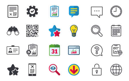 QR scan code in smartphone icon. Boarding pass flight sign. Identity ID card badge symbol. Chat, Report and Calendar signs. Stars, Statistics and Download icons. Question, Clock and Globe. Vector Illustration