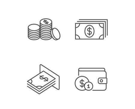 돈, 현금 및 지갑 라인 아이콘. ATM, 통화 및 동전 징후. 은행 및 달러 기호입니다. 품질 디자인 요소입니다. 편집 가능한 획. 벡터