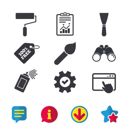 Paint roller, brush icons. Spray can and Spatula signs. Wall repair tool and painting symbol. Browser window, Report and Service signs. Binoculars, Information and Download icons. Stars and Chat
