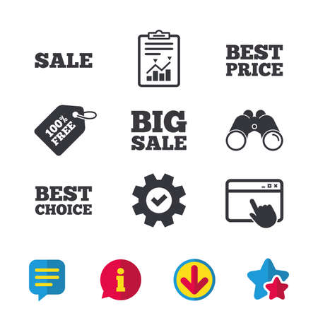 Sale icons. Best choice and price symbols. Big sale shopping sign. Browser window, Report and Service signs. Binoculars, Information and Download icons. Stars and Chat. Vector Ilustracja