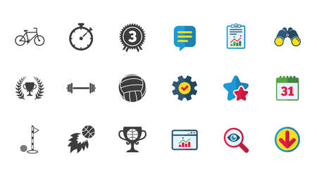 Sport games, fitness icons. Golf, basketball and volleyball signs. Timer, bike and winner cup symbols. Calendar, Report and Download signs. Stars, Service and Search icons. Vector Illustration