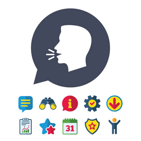 Talk or speak icon. Loud noise symbol. Human talking sign. Information, Report and Speech bubble signs. Binoculars, Service and Download, Stars icons. Vector