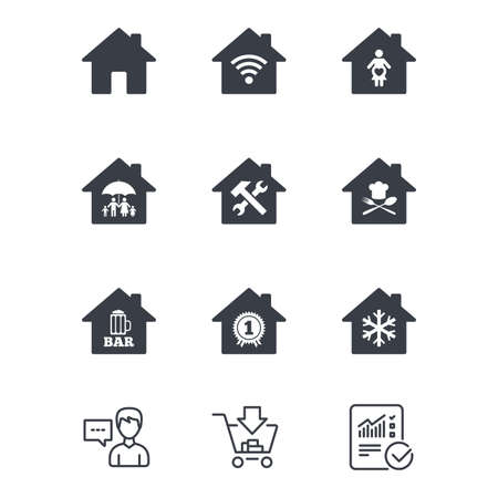 Real estate icons. Home insurance, maternity hospital and wifi internet signs. Restaurant, service and air conditioning symbols. Customer service, Shopping cart and Report line signs. Vector