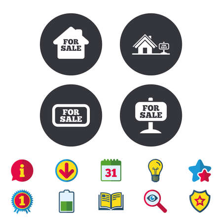 For sale icons. Real estate selling signs. Home house symbol. Calendar, Information and Download signs. Stars, Award and Book icons. Light bulb, Shield and Search. Vector