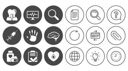 Medicine, medical health and diagnosis icons. Blood, syringe injection and neurology signs. Tooth implant, magnifier symbols. Document, Globe and Clock line signs. Lamp, Magnifier and Paper clip icons Çizim