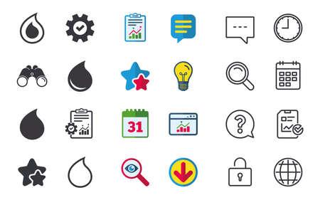 워터 드롭 아이콘입니다. 눈물 또는 오일 드롭 기호. 채팅, 신고 및 캘린더 표지판. 별, 통계 및 다운로드 아이콘. 질문, 시계 및 글로브입니다. 벡터