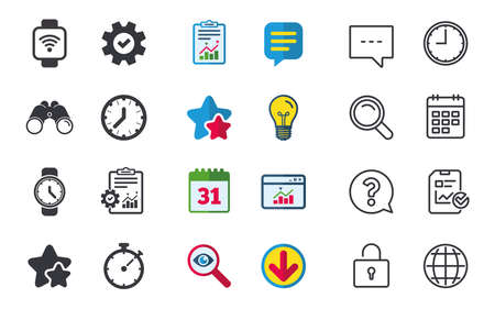Smart watch wi-fi icons. Mechanical clock time, Stopwatch timer symbols. Wrist digital watch sign. Chat, Report and Calendar signs. Stars, Statistics and Download icons. Question, Clock and Globe Illustration