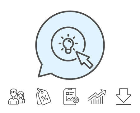 Idea lamp line icon. Mouse cursor sign. Light bulb symbol. Report, Sale Coupons and Chart line signs. Download, Group icons. Editable stroke. Vector