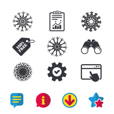 Snowflakes artistic icons. Air conditioning signs. Christmas and New year winter symbols. Browser window, Report and Service signs. Binoculars, Information and Download icons. Stars and Chat. Vector Illustration