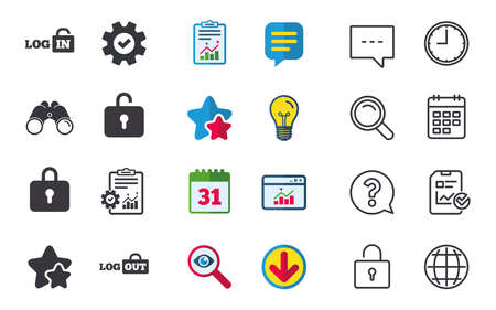 Login and Logout icons. Sign in or Sign out symbols. Lock icon. Chat, Report and Calendar signs. Stars, Statistics and Download icons. Question, Clock and Globe.