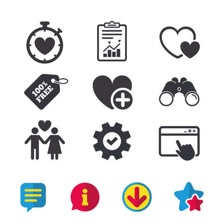 Valentine day love icons. Love heart timer symbol. Couple lovers sign. Add new love relationship. Browser window, Report and Service signs. Binoculars, Information and Download icons. Stars and Chat Illustration
