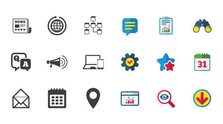 Communication icons. News, chat messages and calendar signs. E-mail, question and answer symbols. Calendar, Report and Download signs. Stars, Service and Search icons. Statistics, Binoculars and Chat