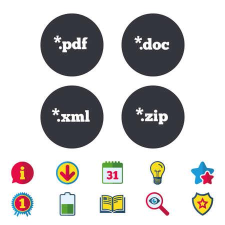 アイコンを文書化します。ファイル拡張子のシンボル。PDF、ZIP 圧縮、XML およびドキュメントに署名します。カレンダー、情報およびダウンロードに  イラスト・ベクター素材