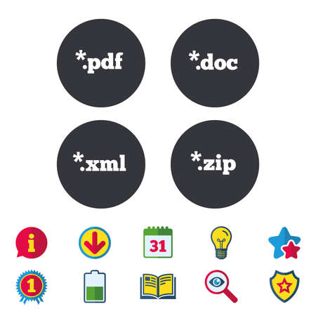 Document icons. File extensions symbols. PDF, ZIP zipped, XML and DOC signs. Calendar, Information and Download signs. Stars, Award and Book icons. Light bulb, Shield and Search. Vector Illustration
