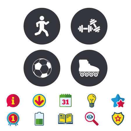 rollerblades: Football ball, Roller skates, Running icons. Fitness sport symbols. Gym workout equipment. Calendar, Information and Download signs. Stars, Award and Book icons. Light bulb, Shield and Search. Vector