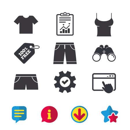 Kleidung-Icons. T-Shirt und Bermuda-Shorts Zeichen. Symbol für Badehose. Browserfenster, Bericht und Dienstzeichen. Ferngläser, Informations- und Download-Symbole. Sterne und Chat. Vektor Standard-Bild - 83231293