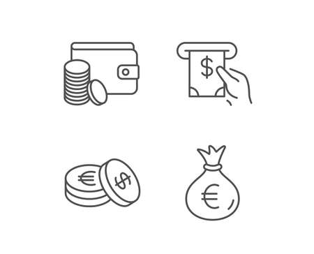 Money bag, Cash and Wallet line icons. ATM, Currency and Coins signs. Banking, Euro and Dollar symbols. Quality design elements. Editable stroke. Vector
