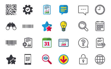 Bar and Qr code icons. Scan barcode in smartphone symbols. Chat, Report and Calendar signs. Stars, Statistics and Download icons. Question, Clock and Globe. Vector 向量圖像