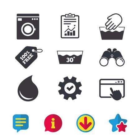 Handwäsche-Symbol. Maschinenwaschbar bei 30 Grad Symbolen. Waschküche und Wassertropfen Zeichen. Browser-Fenster, Report- und Service-Zeichen. Ferngläser, Informations- und Download-Icons. Sterne und Chat