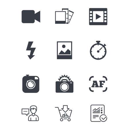 Foto-, video-iconen. Camera, foto's en kaderborden. Flash-, timer- en landschapssymbolen. Klantenservice, winkelwagen en rapportregels. Online winkelen en statistieken. Vector Stock Illustratie