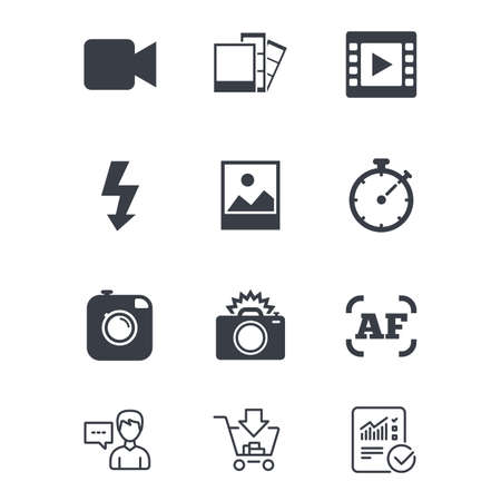Photo, video icons. Camera, photos and frame signs. Flash, timer and landscape symbols. Customer service, Shopping cart and Report line signs. Online shopping and Statistics. Vector