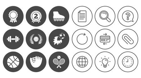 Sport games, fitness icons. Football, basketball and volleyball signs. Dumbbell, baseball and winner award symbols. Document, Globe and Clock line signs. Lamp, Magnifier and Paper clip icons. Vector