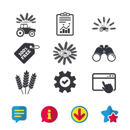 Traktor-Symbole. Kranz aus Weizenmais Zeichen. Transportsymbole der Landwirtschaft. Browserfenster, Bericht und Dienstzeichen. Ferngläser, Informations- und Download-Symbole. Sterne und Chat. Vektor Standard-Bild - 83138984