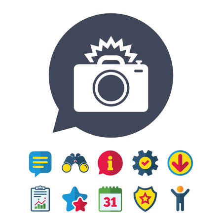 Photo camera sign icon. Photo flash symbol. Information, Report and Speech bubble signs. Binoculars, Service and Download, Stars icons. Vector Ilustracja