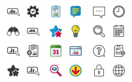 Top-level internet domein pictogrammen. De, It, Es en Fr symbolen met cursoraanwijzer. Unieke nationale DNS-namen. Chat-, rapport- en kalenderborden. Sterren, Statistieken en Download pictogrammen. Vector