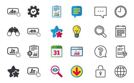 Top-level internet domein pictogrammen. De, It, Es en Fr symbolen met handaanwijzer. Unieke nationale DNS-namen. Chat-, rapport- en kalenderborden. Sterren, Statistieken en Download pictogrammen. Vector