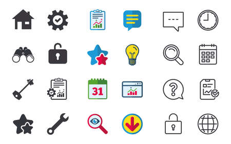 Home key icon. Wrench service tool symbol. Locker sign. Main page web navigation. Chat, Report and Calendar signs. Stars, Statistics and Download icons. Question, Clock and Globe. Vector 向量圖像