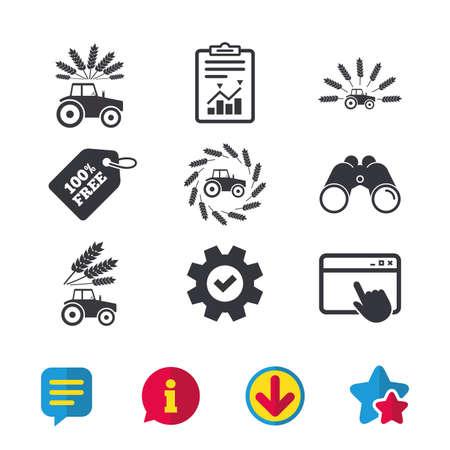 Traktor-Symbole. Kranz aus Weizenmais Zeichen. Transportsymbole der Landwirtschaft. Browserfenster, Bericht und Dienstzeichen. Ferngläser, Informations- und Download-Symbole. Sterne und Chat. Vektor Standard-Bild - 83229579
