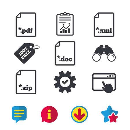 ドキュメント アイコンをダウンロードしてください。ファイル拡張子のシンボル。PDF、ZIP 圧縮、XML およびドキュメントに署名します。ブラウザー   イラスト・ベクター素材