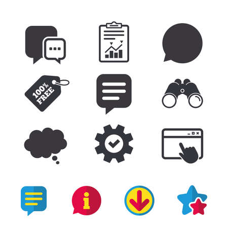 Chat icons. Comic speech bubble signs. Communication think symbol. Browser window, Report and Service signs. Binoculars, Information and Download icons. Stars and Chat. Vector