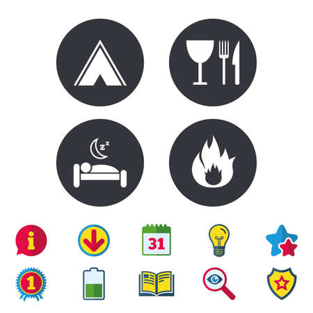 Food, sleep, camping tent and fire icons. Knife, fork and wineglass. Hotel or bed and breakfast. Road signs. Calendar, Information and Download signs. Stars, Award and Book icons. Vector