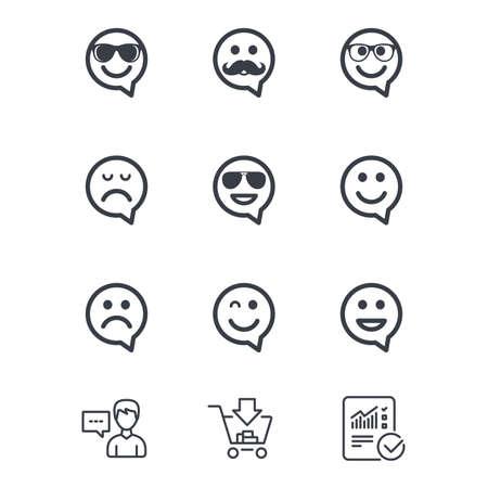 笑顔のスピーチの泡アイコン。幸せ、悲しい、ウインク印に直面しています。サングラス、口ひげ、笑絵文字シンボルを笑っています。顧客サービ