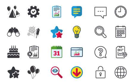 Verjaardag feest iconen. Taart, ballon, hoed en muffin. Vuurwerk met raketsymbool. Dubbeldekker met kaars. Chat-, rapport- en kalenderborden. Sterren, Statistieken en Download pictogrammen. Vector