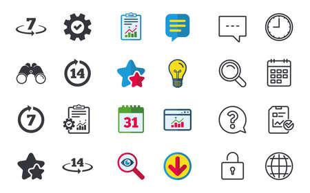 7 일 또는 14 일 안에 제품 반품 아이콘, 보증 2 주간 교환 기호, 채팅, 신고 및 달력 표지판, 별표, 통계 및 다운로드 아이콘, 질문, 시계 및 지구본 벡터 일러스트